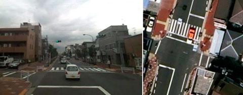 歩行者用信号のみの交差点